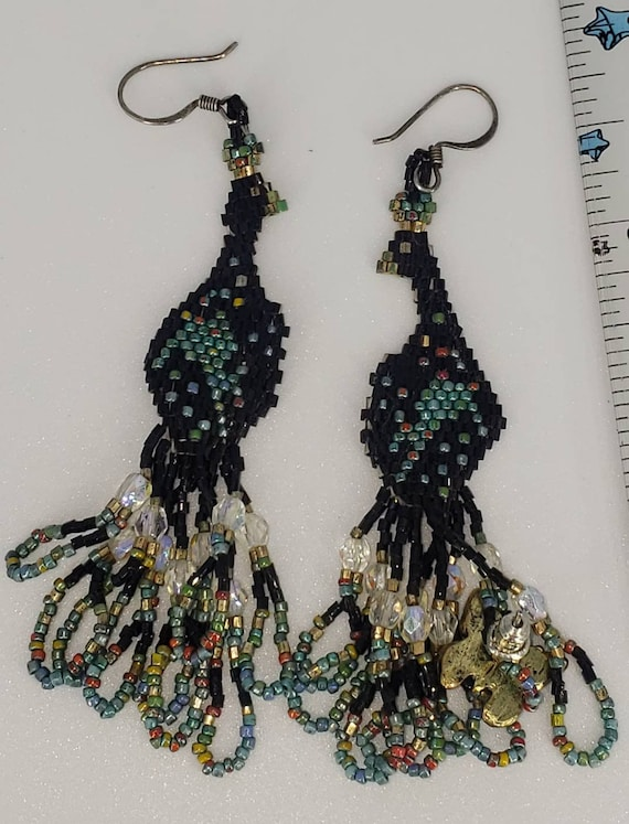 Peacock bird beaded earrings.