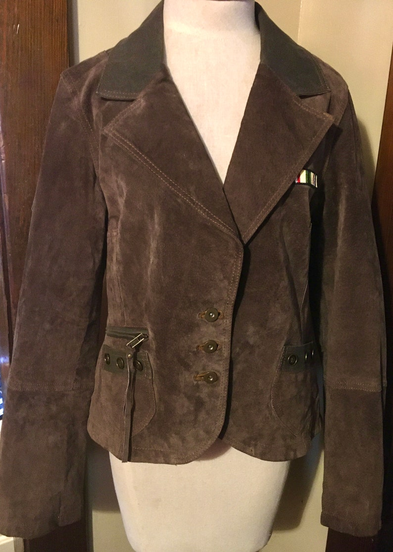 LARGE \u201cWilson\u2019s leather\u201d SUEDE green bomber jacket with patches