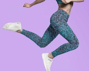 Splattered Paint Yoga Leggings, Patterned Leggings for Women, Sprayed Print Leggings, Paint Pattern Pants, Soft Athleisure Wear