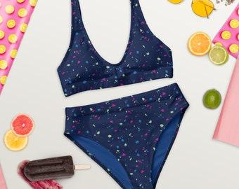 Terra Pattern Bikini, Recycled Material Swimsuit for Women, Terrazzo Print Two-Piece, Quartz Pattern Swimsuit, Eco-Friendly Bikini
