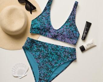 Paint Splattered Bikini, Eco-Friendly Swim Suit, Colorful Patterned Women's Swimwear, Two Piece Women's Swimsuit, High Waisted Bikini