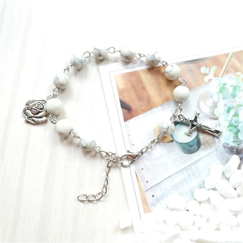 Gemstone /& Silver Rosary Cross Bracelet Rose Catholic Bracelet Turquoise Prayer Beads,Catholic Gift Turquoise Rosary Bracelet
