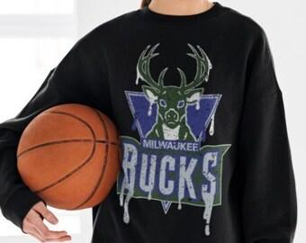 Vintage Milwaukee Bucks Sweatshirt, Milwaukee Bucks NBA Basketball T Shirt, Milwaukee Bucks Logo Graphic Tee