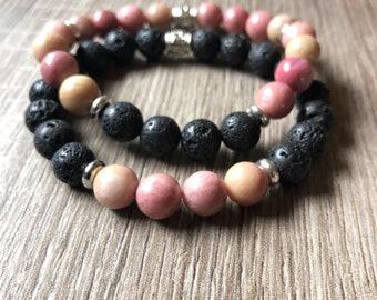 Love, Passion & Strength Essential Oil diffuser bracelet set: Rhodochrosite, Lava Stone Ho'oponopono style
