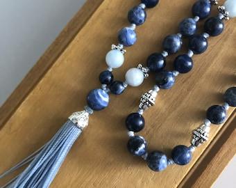Spiritual Growth 54 bead Mala necklace with hand made tassel, Sodalite & Aquamarine. Ho'oponopono style, Meditation and spiritual tool