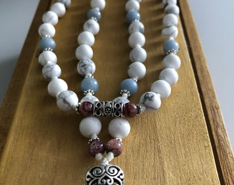 Bone Health and Calcium Balance Mala: Howlite, Angelite, Strawberry Quartz 54 bead mala, tassel 3.25 inches Ho'oponopono Style