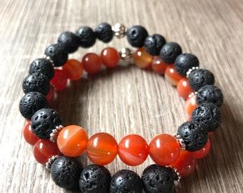 Motivation & Strength Essential Oil diffuser bracelet set Carnelian, Lava Stone. Ho'oponopono style