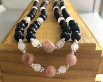 New Beginnings & Courage Mala, Balancing all chakras 108 bead mala Lava Stone, Moonstone, Sunstone. Infinity mala. Ho'oponopono Style