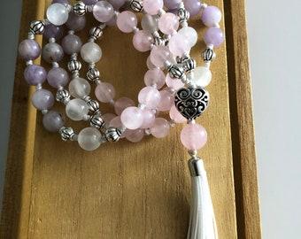 Pulling Abundance Toward You Mala 54 beads With Tassel Rose Quartz, Lavender Jade, Selenite Ho'oponopono style
