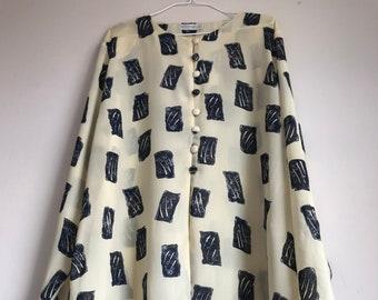 UK 14 Size Large EU 42 Vintage 1970s Match Set By LeRose Black and White Geometric Print Button Front Dagger Collar Long Sleeve Blouse