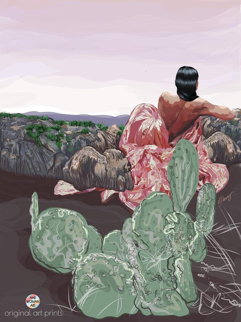 Women on Enchanted Rock Cactus Plants Painting Black Woman 36 x 48 in Art Print