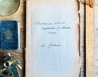 Antique copy of text on 'Smithsonian 2nd Exploration in Alaska 1907' by C. Gilmore. Mastodon discovery. Palaeontology.  Scientific. Maps.