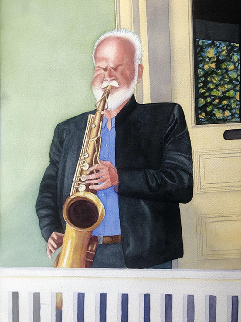 Watercolor Sax Player FINE ART PRINT Print Alone or Matted Porch Puckerer Multiple sizes