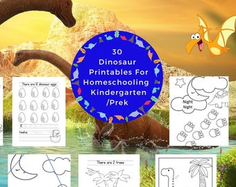 30 Dinosaur Printable Pages For Pre-K/Kindergarten Homeschooling (Cutting, Numbers, Counting, Coloring)