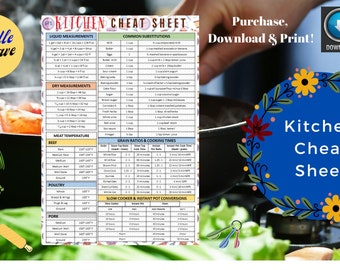 Kitchen Cheat Sheet / Kitchen Measurements / Slow Cooker & Insta Pot Conversions / Cooking Substitutions