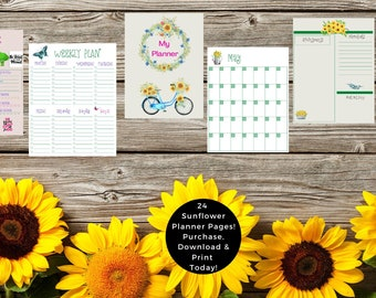 Printable Sunflower Planner And Calendar. Daily planner. Weekly planner. Monthly planner. Budget, Self-Care Plan, Project Tracker And More.