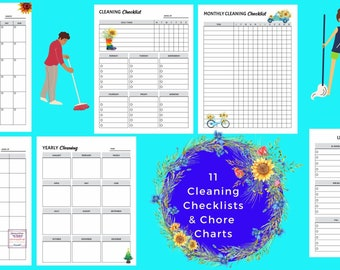 Cleaning Checklists & Chore Charts l Instant Download l Responsibility l House Cleaning l To Do Lists