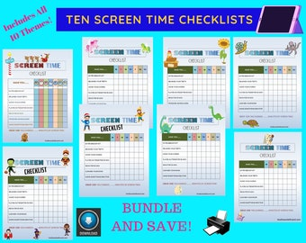 Screen Time Checklist For Kids / Digital Printable / ( Halloween, Space, Farm, Winter, Summer Fun, Christmas, Playground, Dinosaurs & Sea)