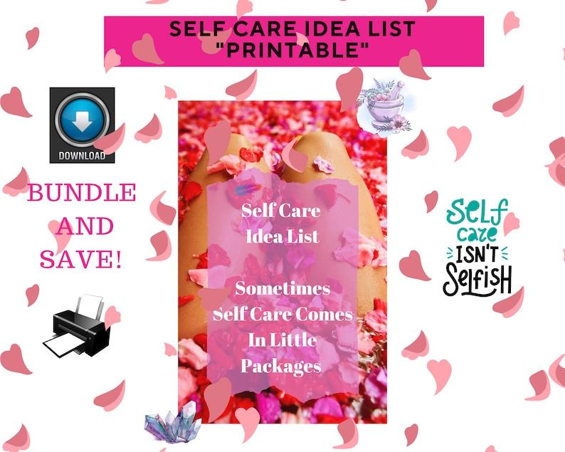 Self Care Idea List / Printable / Conscious Living / Well image 1
