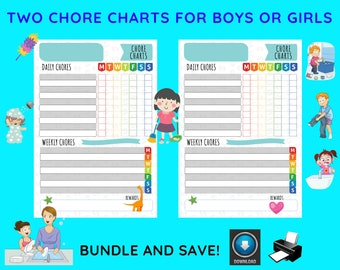 Chore Charts For Boys And Girls / Responsibility Charts / Elementary / Chore List
