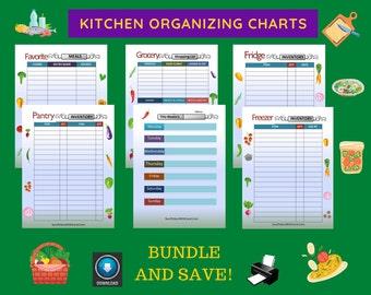 Kitchen Organizing Printables / Freezer Organizing / Pantry Organizing / Fridge Organizing / Grocery Lists / Menu Planning