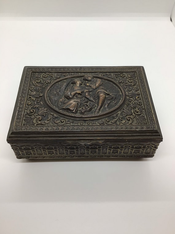 Vintage Brass Repousse Jewelry Box