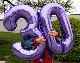 40 inches Purple Aluminum Film Number Balloons Birthday Party Decor