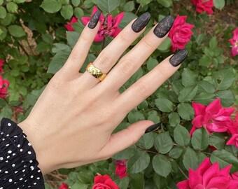 Black Lace, Coffin Nails | Medium Press On Nails | Matte Nails | Negative Space Nails | Nail Art Manicure | Medium Length Press On Nails