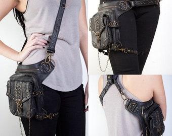 Vintage Hip Bag  Shoulder Bag Leg Bag Cross body Bag Thigh Bag Fanny Pack PU Leather Unisex