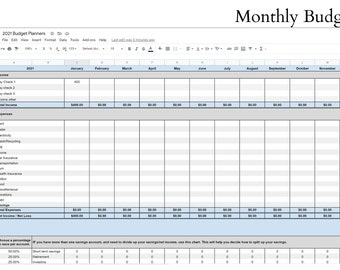 2021 Budget Planners, Monthly Budget, Biweekly Budget, Digital Download Spreadsheets, Google Sheets & Excel Budget Templates