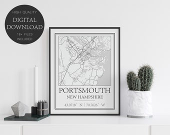 Portsmouth New Hampshire Map Print, Printable Street Map, Map Art Travel Poster, Portsmouth City Map Gift, Minimalist Map Print
