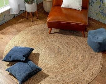 4' 5' 6' 7' 8' 9' 10' Round Ripaz Hand Braided Jute Rug Area Rug Round Handmade, Natural Jute Rug for Home Decor