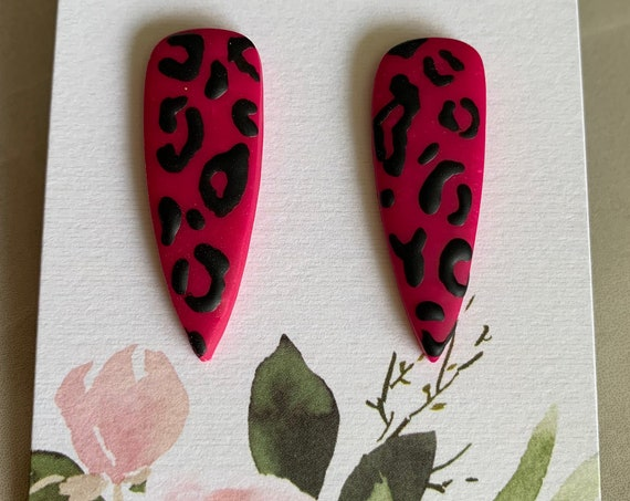 Colorful Leopard Print Earrings | Pink | Gold | Blue | Long Stud Earrings | Polymer Clay