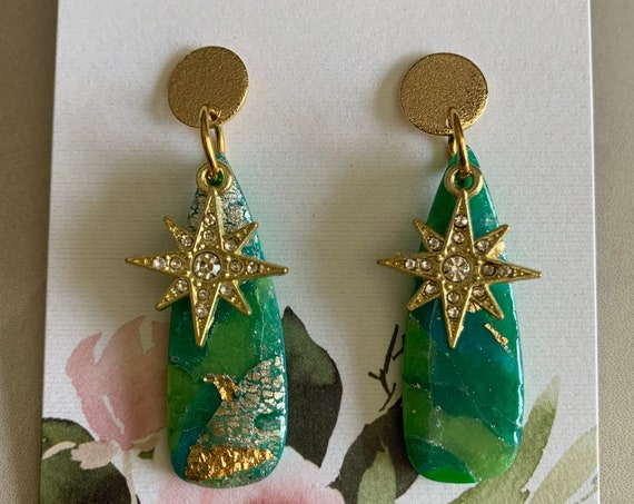 Emerald Earrings with Beautiful Charm | Handmade Polymer Clay Earrings | Gold Accents