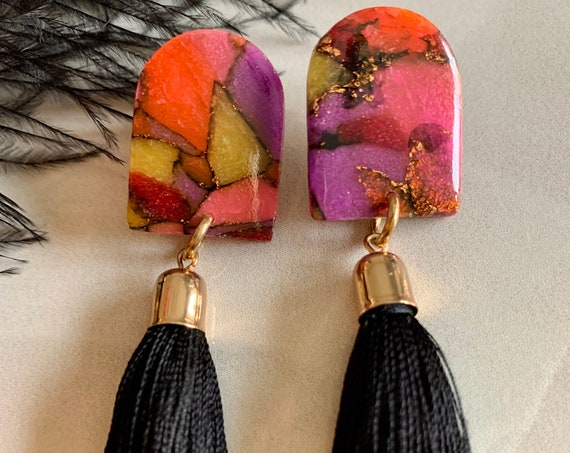 Colorful Clay Earrings with Tassels