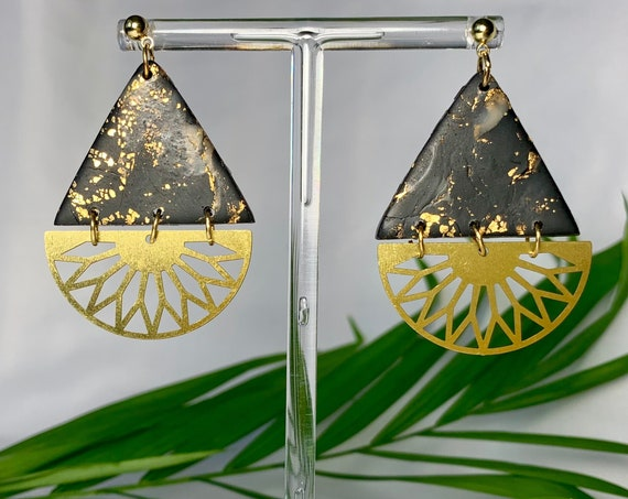 Black Marbled Polymer Clay Earrings