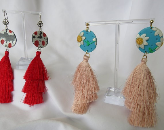 Handmade Polymer Clay Floral Earrings with tassels