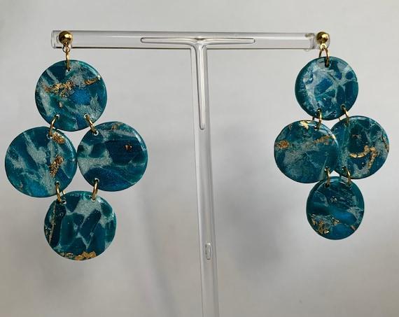 Blue X Silver 3 Tier Earrings