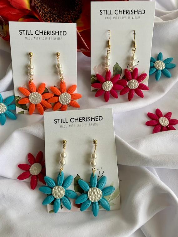 Daisy Earrings | Handmade Flower Polymer Clay Earrings