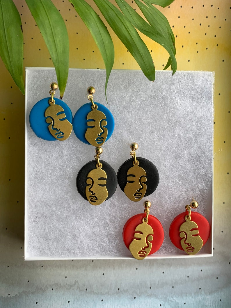 Face Earrings Abstract Earrings Afro Earrings Polymer clay image 0