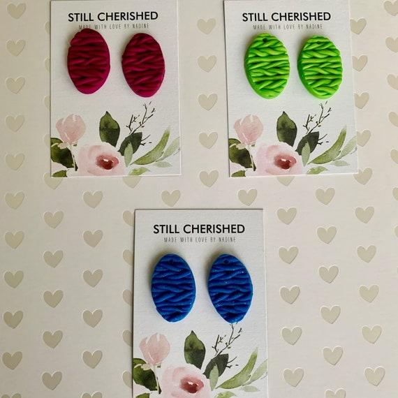 Knitted Stud Earrings | Polymer Clay Woven Earrings