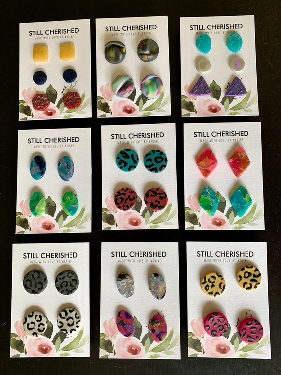 Clay Earring Set   Handmade Polymer Clay   Double Pack   3 pairs