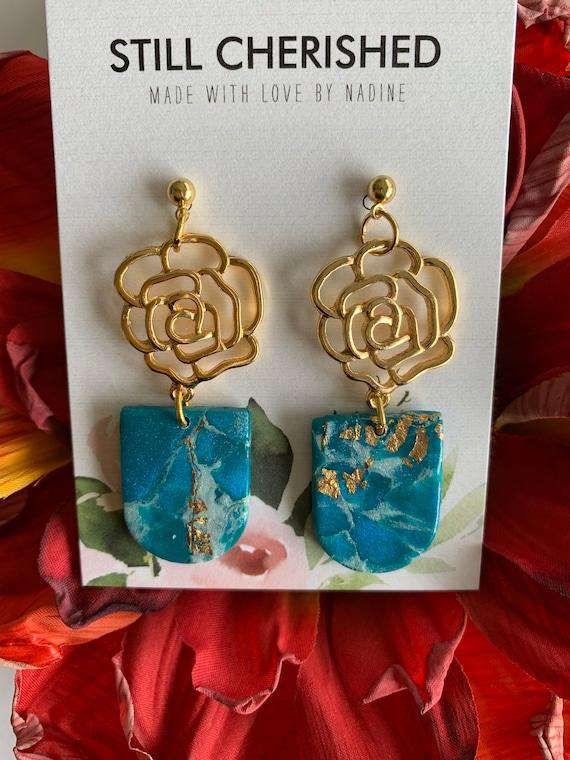 Blue X White X Gold Marble Earrings