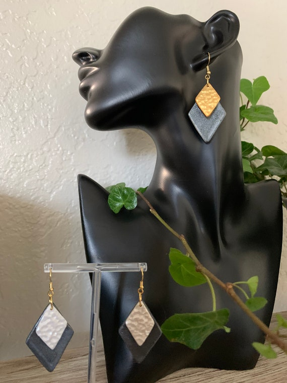 Handmade Double Diamond Shaped Polymer Earrings