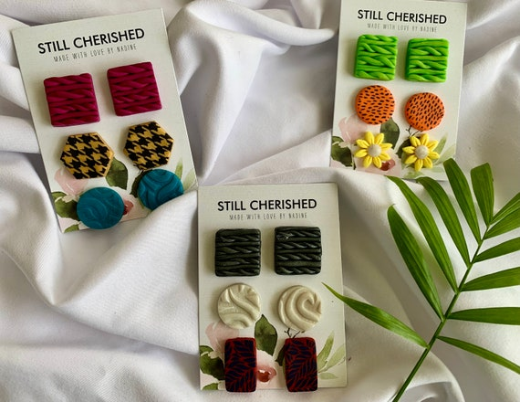3-Pack Unique Polymer Clay Earrings