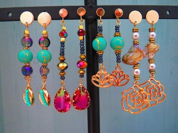 Beaded Boho Dangle Earrings