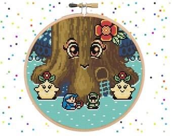 Legend Of Zelda - Oracle Of Ages Maku Tree - Video Game Zelda - Cross Stitch Pattern PDF Instant Download