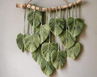 Green Leaves Macrame Wall Hanging, Macrame Feather Wall Decor, Scandinavian Decor, Christmas Wall Hanging, Wall Art, Nursery Fall Decor Gift