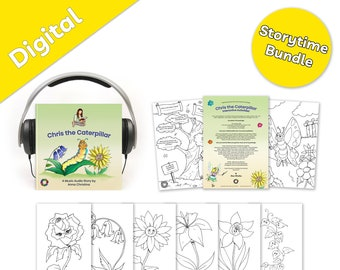 Storytime Bundle - Music audiobook for kids with fairy, flowers, and magic, plus cute interactive kid's printables - Chris the Caterpillar
