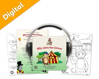 Music audiobook including fun sing-along song with dance moves and interactive printables - Billy Joins the Circus Digital Storytime Package